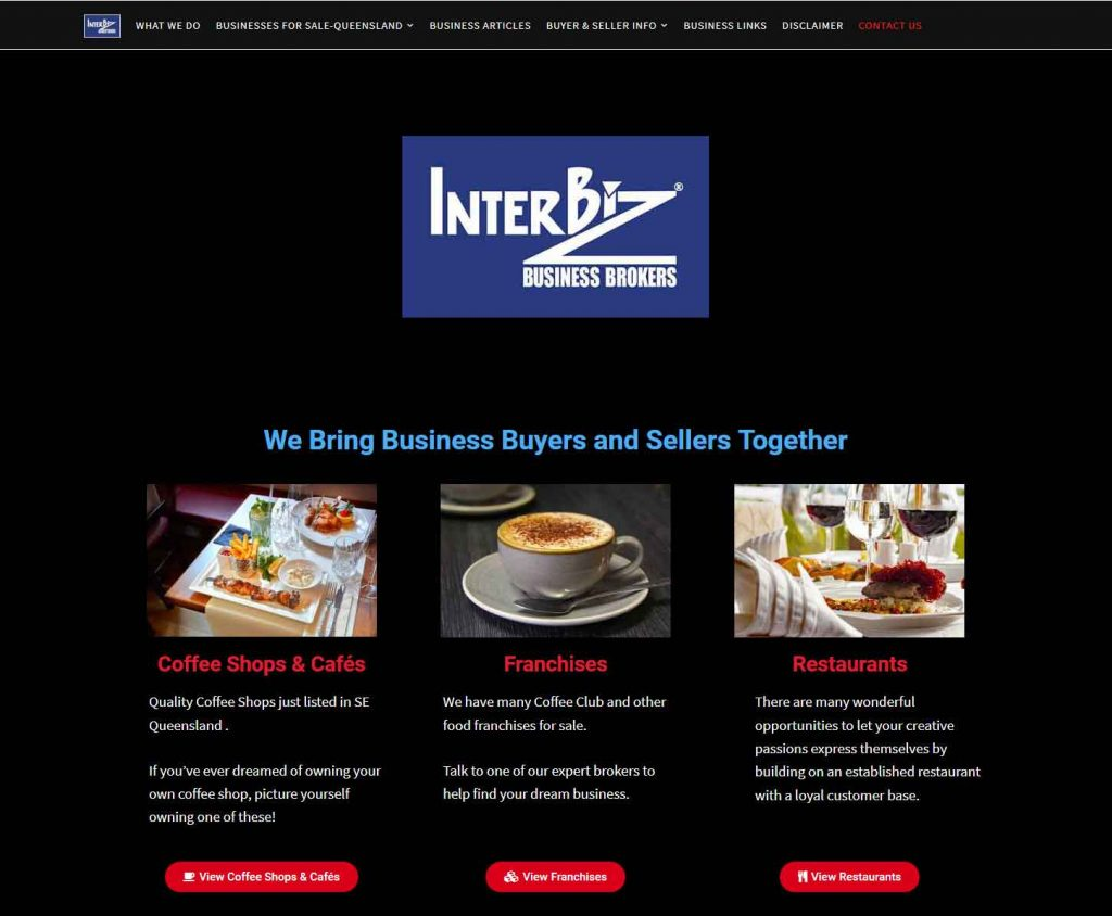 HowTheWebWasWon.biz showcasing Interbiz Business Brokers Website