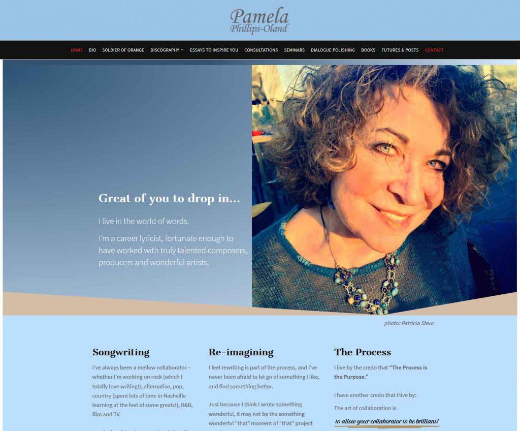 HowTheWebWasWon.biz showcasing PamOland.com Website Home Page