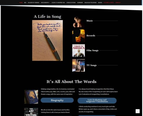HowTheWebWasWon.biz showcasing PamOland.com Website Home Page Section2