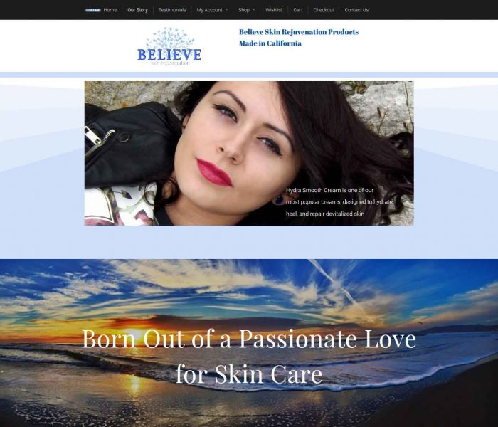 HowTheWebWasWon.biz showcasing Believeskinrejuvenation.com Website Our Story