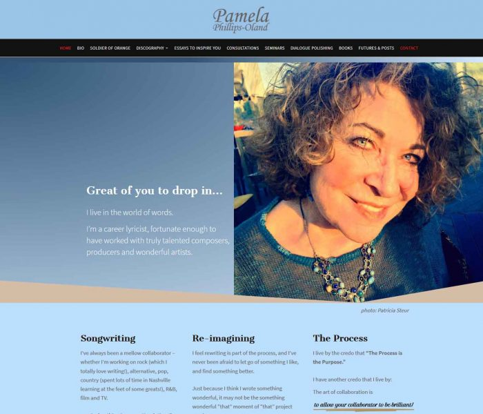 HowTheWebWasWon.biz showcasing PamOland.com Website Home Page