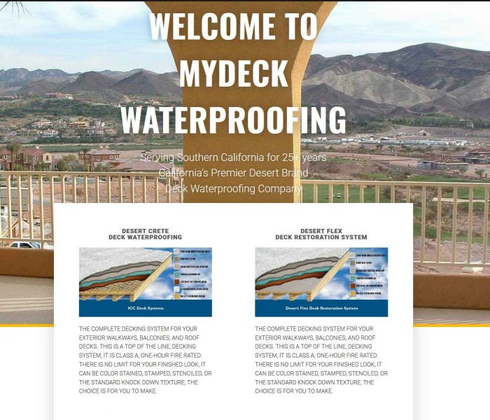 HowTheWebWasWon.biz showcasing MyDeck Waterproofing